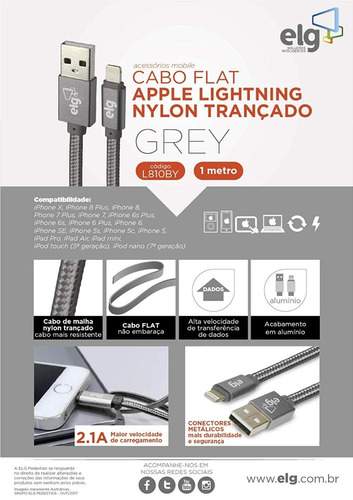 cabo lightning elg flat p/ recarga tecido reforçado apple
