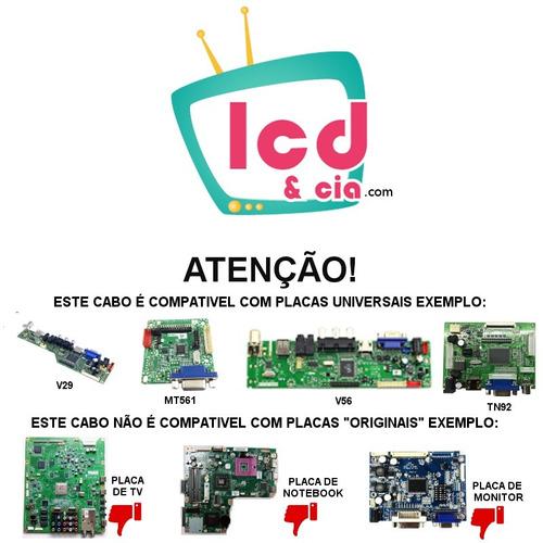 cabo lvds 40pinos 1ch 6bit led lcd - placa v56 tv universal