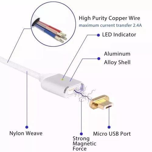 cabo magnético carregador celular tablet android micro usb