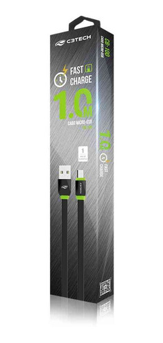 cabo micro usb 1 m 2 a  cb-100 c3tech fast charge