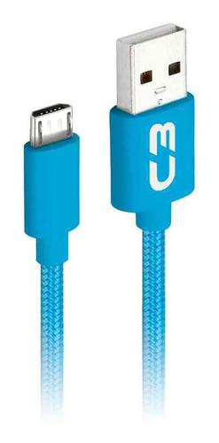 cabo micro usb 1 m 2a cb-m11 c3plus revestido - várias cores
