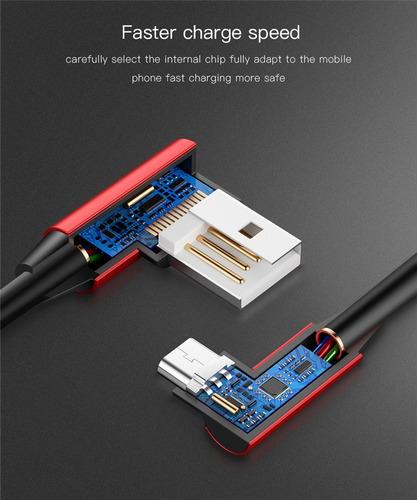 cabo micro usb 90 graus em l reforçado 2a original
