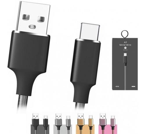 cabo micro usb carregador metálico 1m  todo metal v8 android