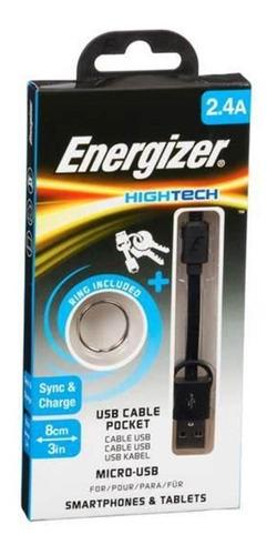 cabo micro usb original energizer pocket 8cm hightech preto