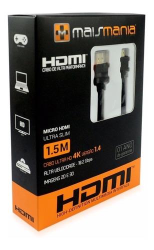 cabo mini hdmi x hdmi 1.4 4k hd 3d para computador 1080p 865