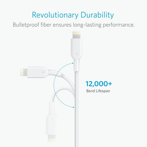 cabo original lightning anker powerline 2 1,8m branco iphone