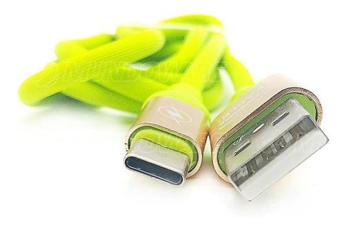 cabo p/ celular padrão usb type-c dados recarga verde claro