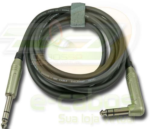 cabo p10 balanceado (estereo) x p10l conectores amphenol 3 m