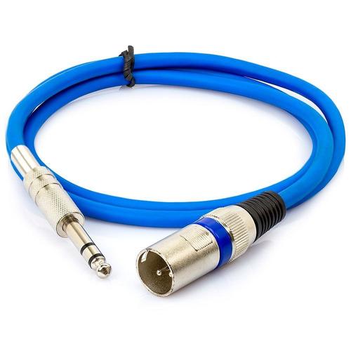 cabo p10 para xlr macho azul estéreo 35 metros