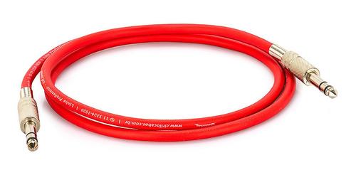 cabo p10 x p10, estéreo, vermelho, 15 metros