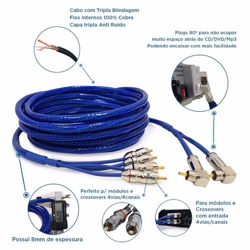cabo rca 5m + y em cobre p modulo 4 canal taramps ts400x4