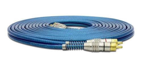 cabo rca blindado 5 metros plug metal techone azul 5mm