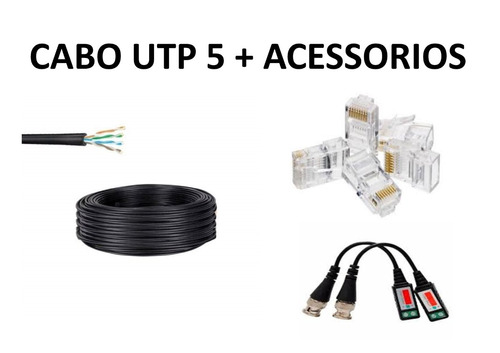 cabo rede c/100m 4 pares cat5e, 20 plugs rj45 e balun cr1r2b