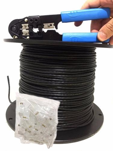 cabo rede cat5e 4 pares 305m 100%cobre  + alicate + 100 rj45