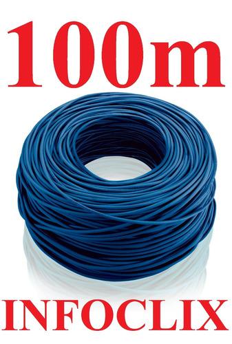cabo rede cat5e azul rolo 100m cat5-e cat-5e metros caixa