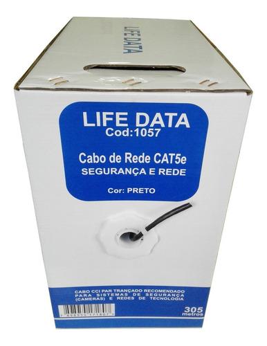 cabo rede cat5e preto life data 4 pares 305 metros cftv