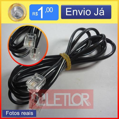 cabo telefone telefonico extensão rj11 preta 2 vias rj11 70c