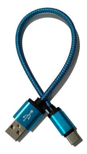 cabo tipo c- usb celular - revestido metálico azul 25cm