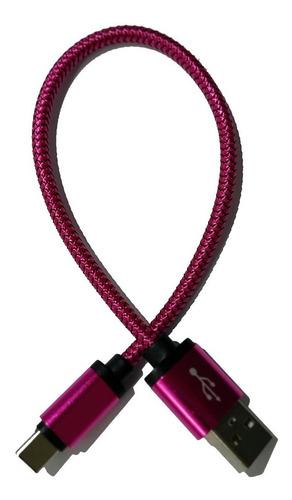 cabo tipo c - usb celular - revestido metálico pink 25cm