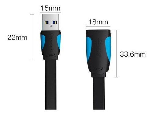 cabo usb 3.0 extensor vention 3m