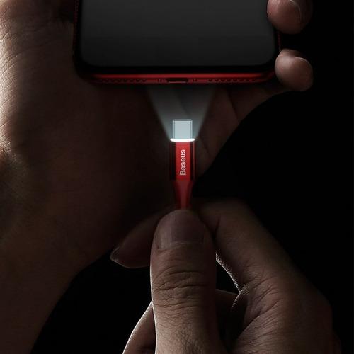 cabo usb tipo c 1m baseus p/ celular reforçado led original