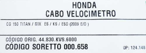 cabo velocímetro - cg 150 titan / mix es / ks /esd(2009 e/d)