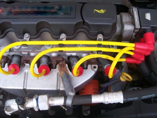 cabos velas silicone amarelo 8mm stilo palio punto fiat1.8