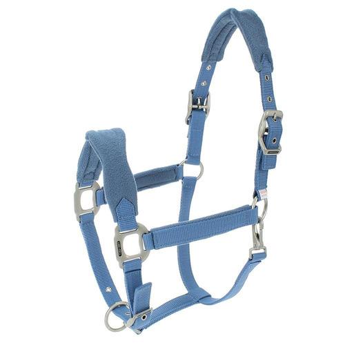 cabresto para cavalo fabricado em nylon azul claro com cabo