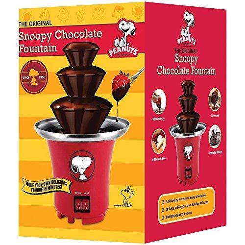 cacahuetes snoopy fuente de chocolate