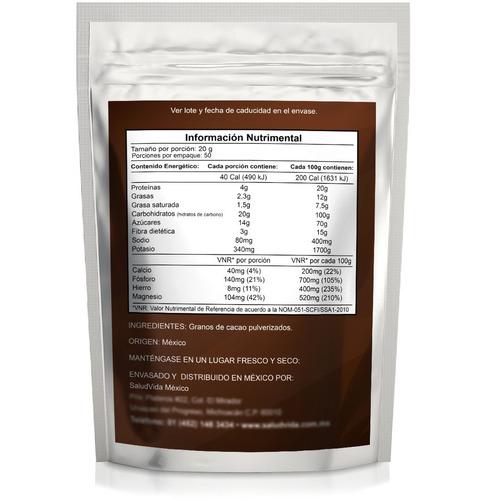 cacao en polvo 1 kg. certificado orgánico
