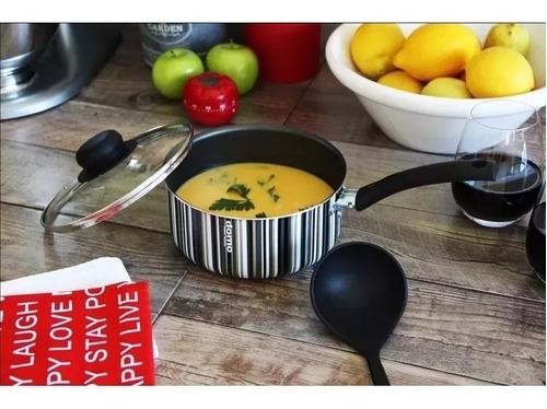 cacerola con mango 18 cm domo (rallado) t black  (020tbl)