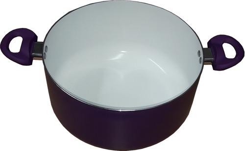 cacerola de ceramica cool+bazar de 24 cm asas de silicona