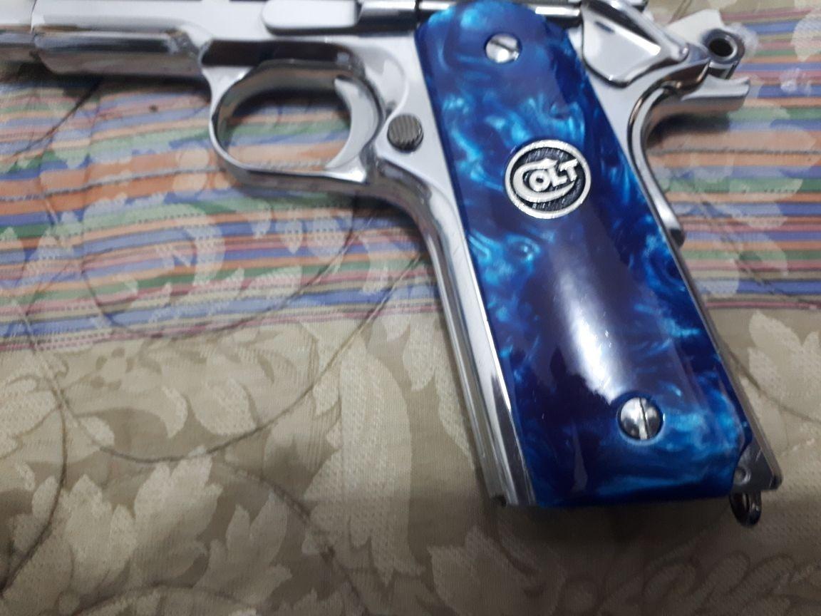 Cachas Para Colt 1911 Nacaradas Azules De Lujo Pistola
