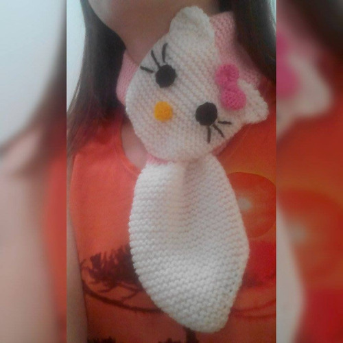 cachecol de tricô infantil hello kitty