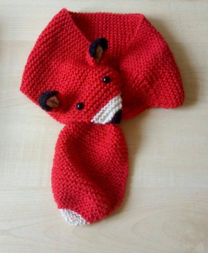 cachecol de tricô infantil raposa