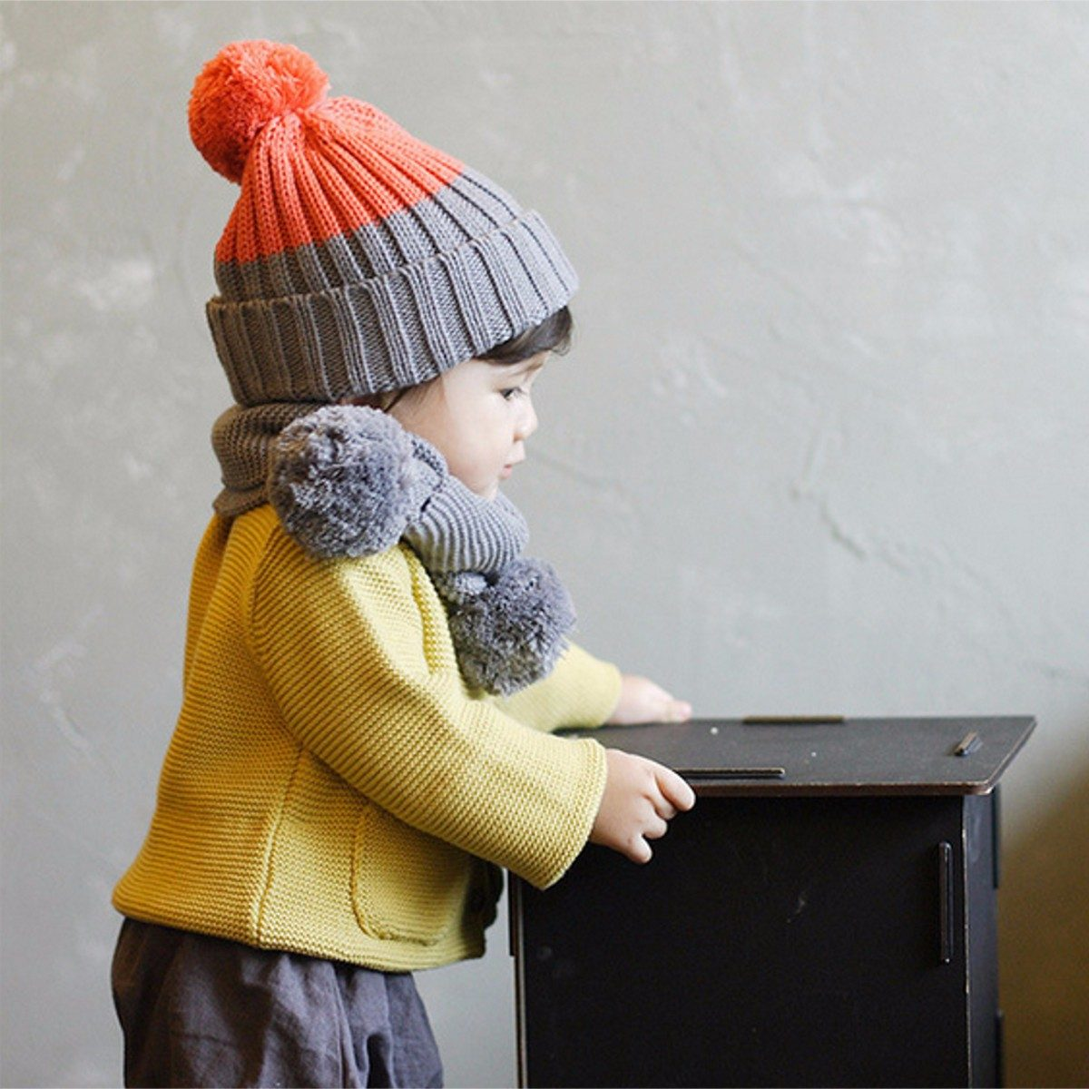 cachecol e touca gorro infantil bebe inverno pompom. Carregando zoom. 4a4aa5f9450