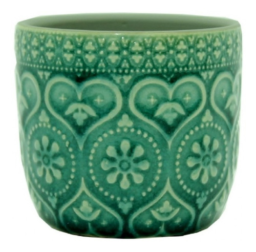 cachepot cerâmica embossed hearts and flowers 7cm verde