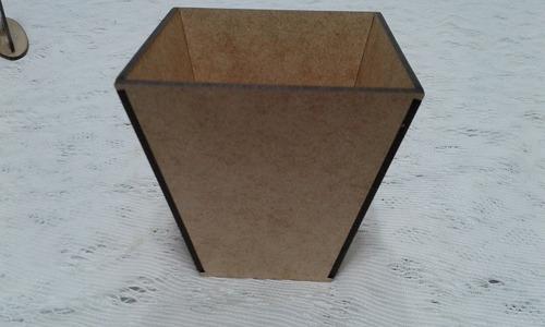cachepot vaso 10x10cm mdf cru decoração centro de mesa 35un