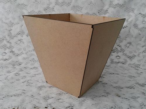 cachepot vaso 20x20cm mdf cru decoração centro de mesa 20un