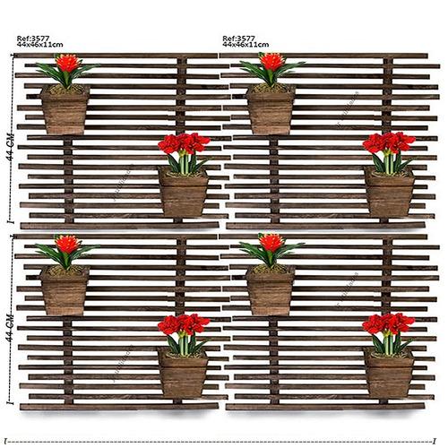 cachepot  vaso 3 peças caixa arranjo flor de madeira 3544 5