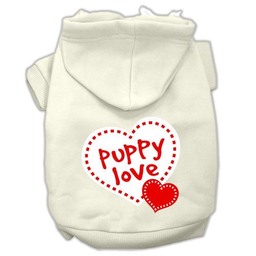 cachorro amar pantalla impresión pet hoodies tamaño crema