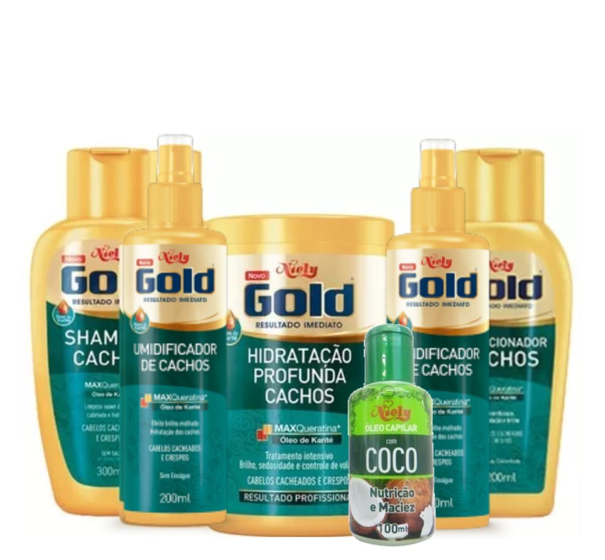ff2f8901d Cachos Niely Gold Completo + Óleo De Coco 06 Produtos - R$ 126,89 em ...