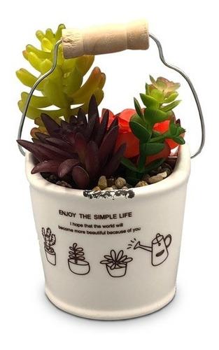 cactus mini planta artificial hogar baño maceta balde 88002