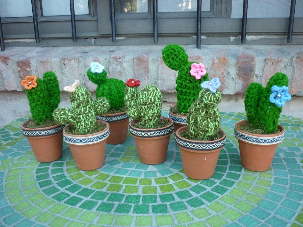 Cactus Tejidos Al Crochet Con Maceta De Barro Y Flores | Cactus de ... | 900x1200