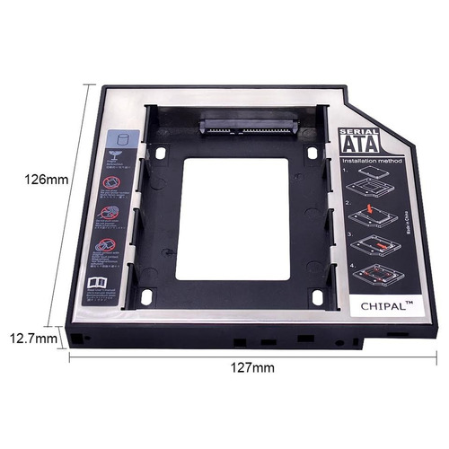 caddy adaptador dvd sata 12.7 mm 2 discos duros en tu laptop