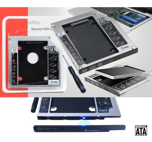 caddy adaptador segundo disco duro sata ssd cd dvd 9.5mm
