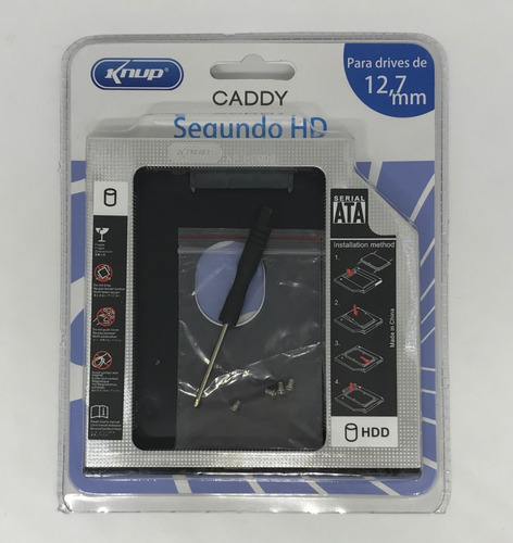 caddy para segundo hd ou ssd 2.5 sata 12.7mm kp-hd009