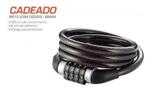 cadeado com senha para bike 8mm de diâmetro aço/silicone