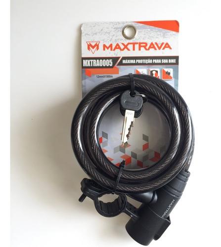 cadeado espiral chave 12mm x 1500mm maxtrava bicicleta