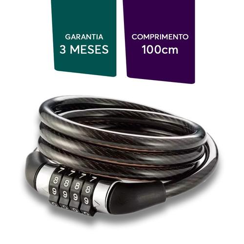 cadeado multiuso cabo de aço bike moto com senha 01 metro